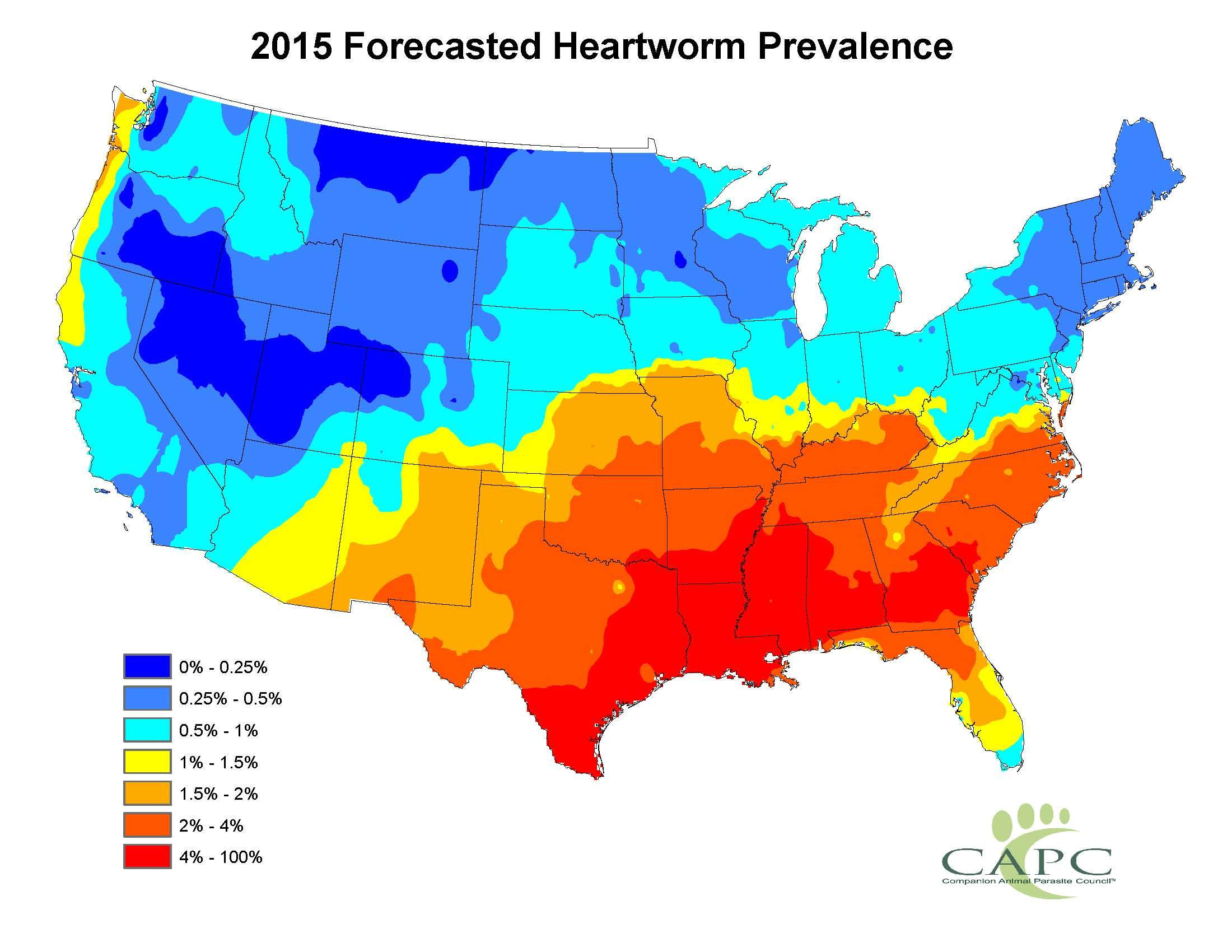 Companion Animal Parasite Council Releases its Annual Parasite Forecasts